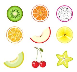 切り口が瑞々しいフルーツ アイコン セット Fruits Icon Set イラスト素材