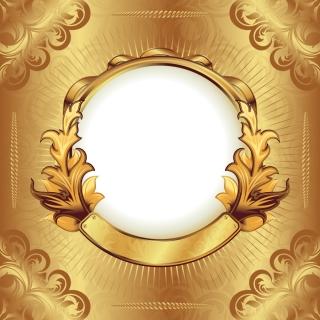 絢爛豪華な黄金のフレーム gorgeous gold ribbon lace pattern イラスト素材4