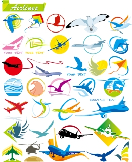 鳥や飛行機のクリップアート some fly vector graphic イラスト素材
