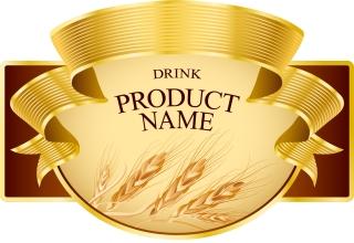 小麦の収穫を金色のリボンで飾ったラベル wheat gold ribbon product labels イラスト素材 イラスト素材