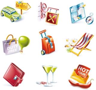 旅行をイメージしたクリップアート outdoor travel theme icon イラスト素材