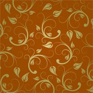 シームレスな金色の植物パターン Abstract Floral Pattern イラスト素材
