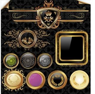 金色の装飾パターン european gold pattern イラスト素材