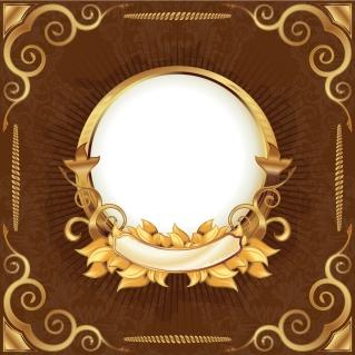 絢爛豪華な黄金のフレーム gorgeous gold ribbon lace pattern イラスト素材2