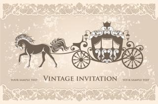 馬車をデザインした招待状 European classical carriage background イラスト素材