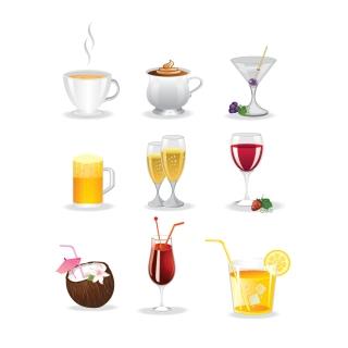 洗練されたデザインの飲み物アイコン Colorful drinks icon set イラスト素材