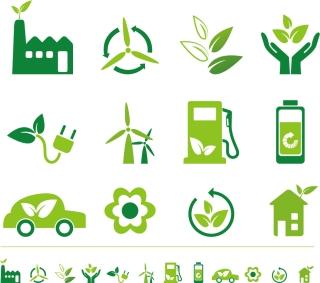 緑のエコ アイコン green tree eco icon set イラスト素材