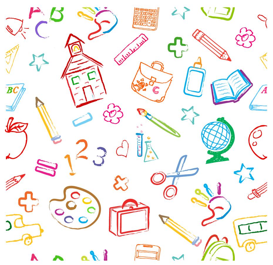学校をイメージした手書きの背景 school symbols seamless pattern