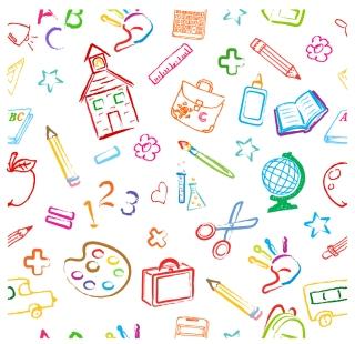 学校をイメージした手書きの背景 School Symbols Seamless Pattern イラスト素材