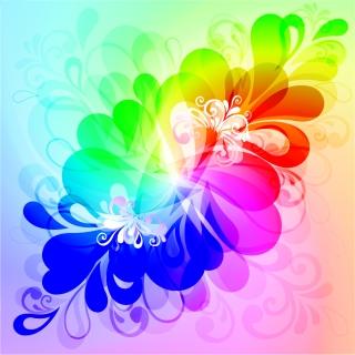 虹色に変化する植物柄の背景 Colorful Floral Background Vector Graphic イラスト素材