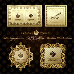 金色のレース飾りが美しいプレート gorgeous european classical pattern vector frame イラスト素材2