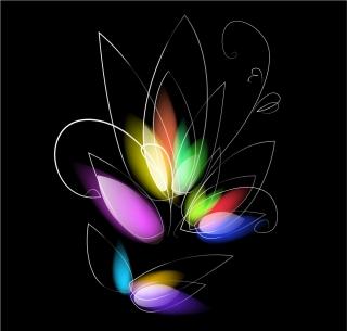 黒地に葉のようなカラフルなライト Abstract Colorful Floral on Black Background  イラスト素材