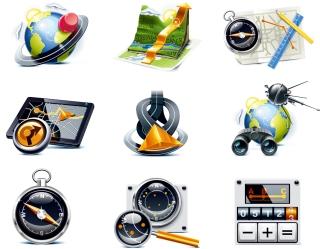 ナビゲーションを題材にした立体アイコン travel theme icon イラスト素材