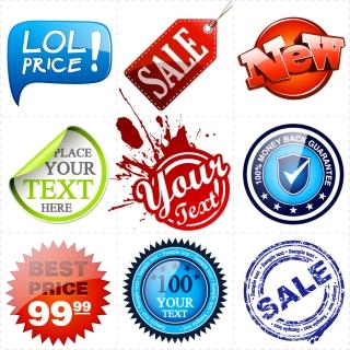 割引きステッカーのデザイン見本 sale price signs stickers イラスト素材2