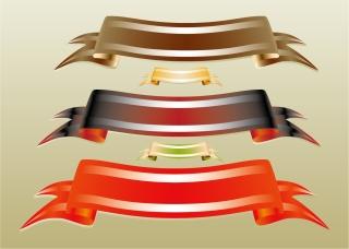 縁取りが鮮やかなリボン バナー ribbon banner vectors イラスト素材