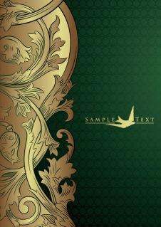 金のレース飾りが豪華な背景 european gorgeous gold lace pattern イラスト素材1