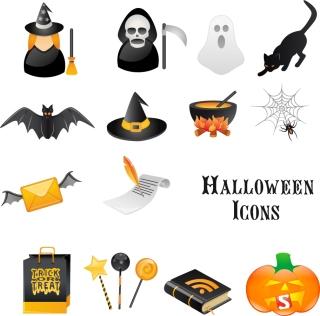 ハロウィン用のクリップアート halloween skull ghost horror icons イラスト素材