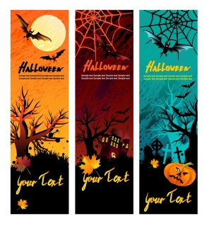 ハロウィン バナー エレメント halloween banner element vector イラスト素材16