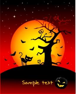 ハロウィンの夜を描いた背景 halloween horror cartoon illustrators イラスト素材2