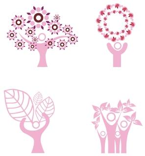 人のシルエットで描いた樹のクリップアート people silhouette tree イラスト素材