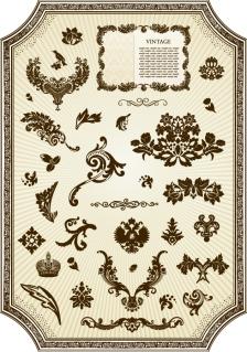 ヨーロッパ調のヴィンテージな装飾素材 european classical vintage Element イラスト素材1
