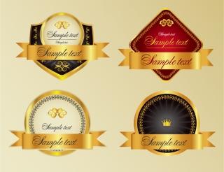 金色の帯が豪華なワイン ラベル stickers and labels wine vector イラスト素材1