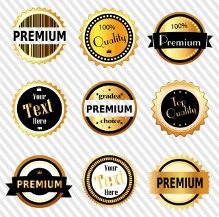 高級感ある金バッチのデザイン premium gold badges イラスト素材