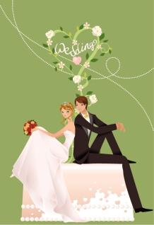 結婚するカップルのクリップアート Wedding Vector Graphic イラスト素材