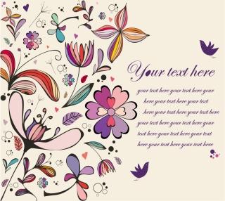 カラフルな植物柄の背景 Vintage Floral Background イラスト素材