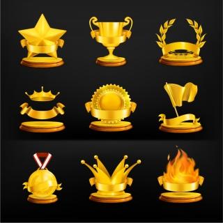黄金の優勝カップ アイコン gold crown medal trophy イラスト素材
