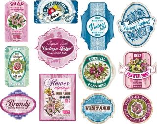 ヴィンテージな花のラベル コレクション vintage flowers label collection イラスト素材