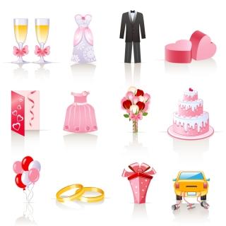 結婚式に関連するクリップアート pink cartoon wedding jewelry vector イラスト素材