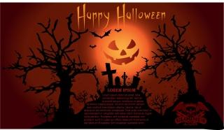 ハロウィン 夜の墓場を描いたフライヤー テンプレート halloween poster flyers template イラスト素材
