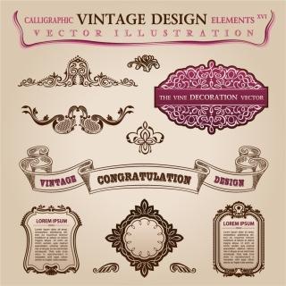 ヴィンテージなレース模様の修飾素材 classic lace pattern carved corners イラスト素材