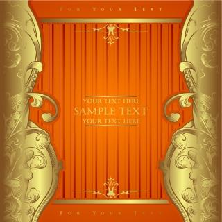 金色レース飾りの豪華フレーム european gorgeous border vector イラスト素材2