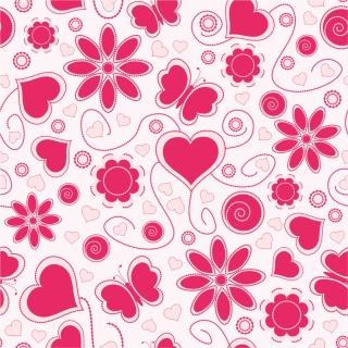 ハートと花の愛らしいパターン背景 Vector Love Pattern Background イラスト素材