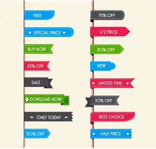 ウェブ デザイン用安売りラベル web design sale labels イラスト素材