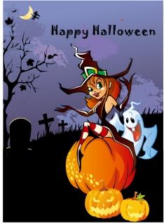 ハロウィン ウィッチのポスター テンプレート Halloween Theme Design Vector Illustration イラスト素材