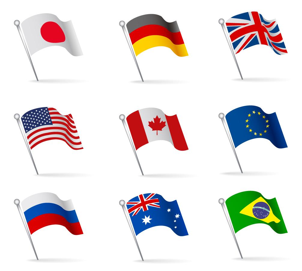 波打つ国旗のクリップアート world flags waving イラスト素材   illustpost