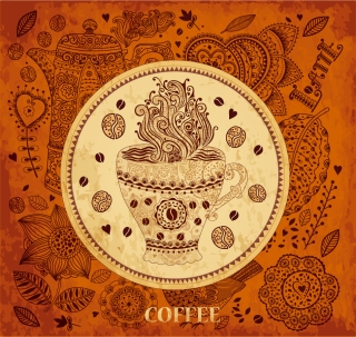 レトロな植物柄で珈琲をイメージした背景 Retro coffee pattern background イラスト素材