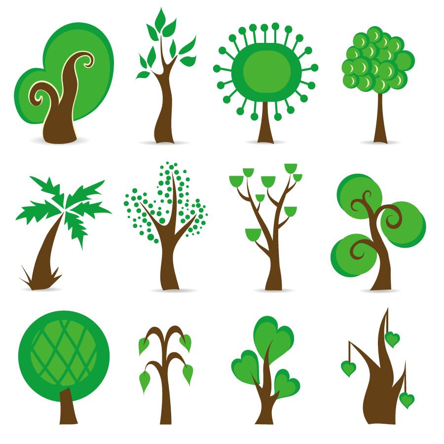 シンボリックな樹のグラフィックアート Tree Symbols Vector Graphic