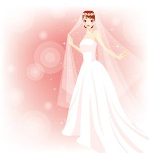 美しいウェディングドレス姿の花嫁 Beautiful Bride in The Wedding Vector Illustration イラスト素材