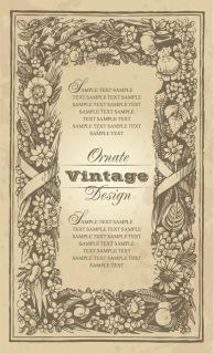 古典的な植物飾りの背景 classical pattern vector flowers lace イラスト素材3