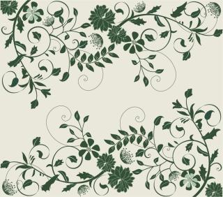 緑の葉がエレガントに曲線を描く背景 Elegant Green Floral Background イラスト素材