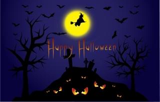 ハロウィンの怖い夜の背景 halloween scary eyes silhouette tree illustration イラスト素材