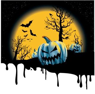 月夜のハロウィンかぼちゃランタンの背景 halloween pumpkin vector イラスト素材
