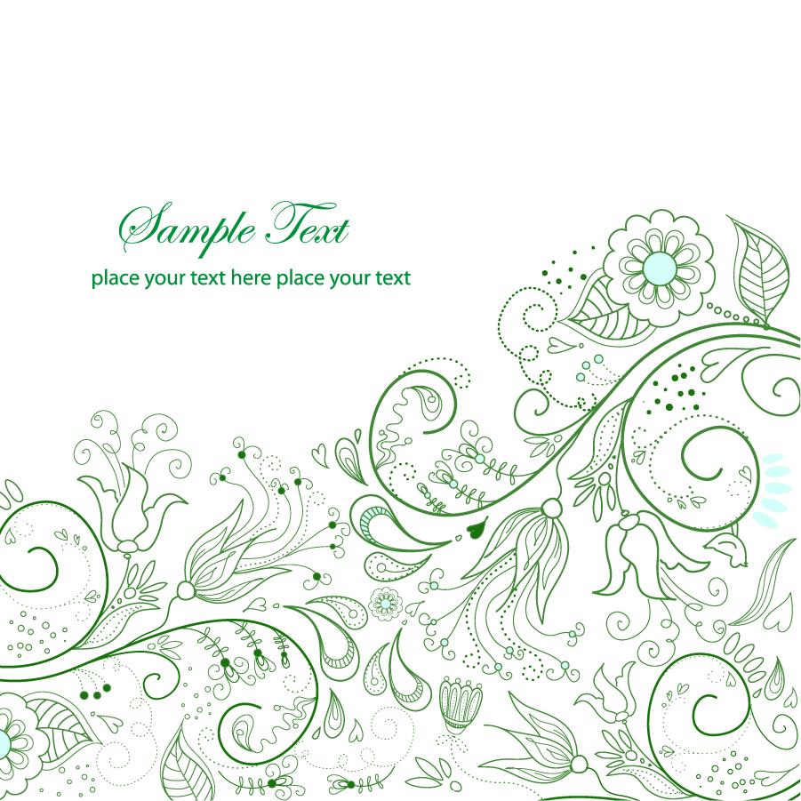 シンプルな緑の植物柄背景 green floral background vector