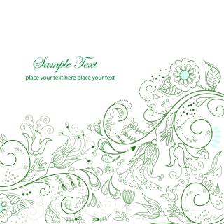 シンプルな緑の植物柄背景 Green Floral Background Vector Illustration イラスト素材
