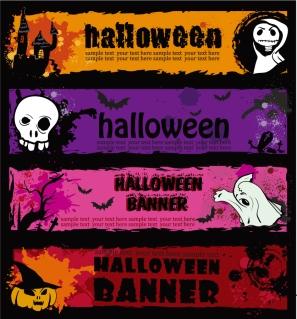 ハロウィン バナー エレメント halloween banner element vector イラスト素材22