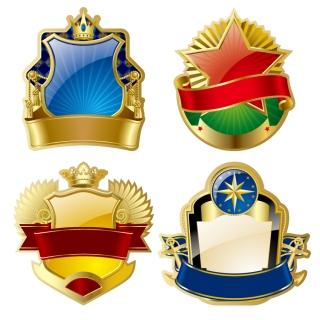 ゴージャスに飾り付けた金の盾型バッジ gorgeous gold medal badge イラスト素材